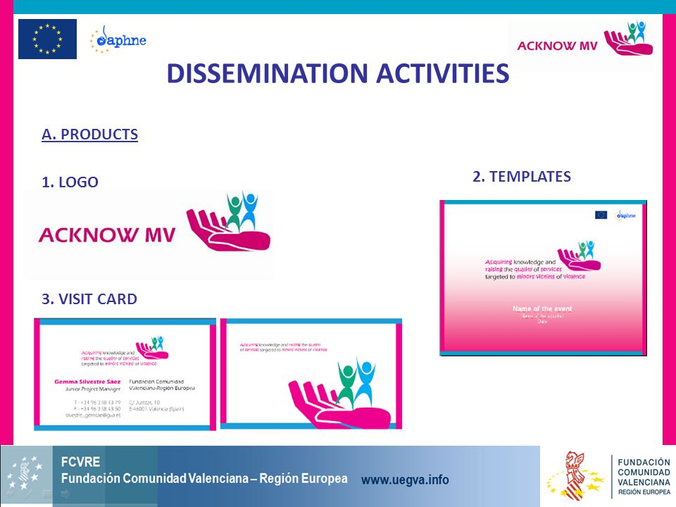 A. PRODUCTS DISSEMINATION ACTIVITIES 1. LOGO 2. TEMPLATES 3. VISIT CARD