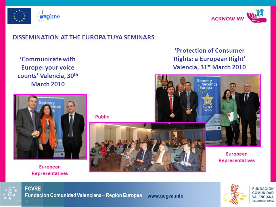 DISSEMINATION AT THE EUROPA TUYA SEMINARS 'Communicate with Europe: your voice counts' Valencia, 30 th March 2010 'Protection of Consumer Rights: a European Right' Valencia, 31 st March 2010 European Representatives Public