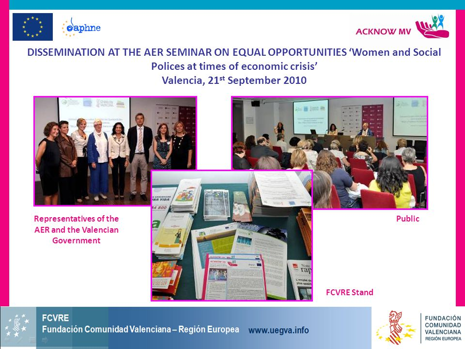 DISSEMINATION AT THE AER SEMINAR ON EQUAL OPPORTUNITIES 'Women and Social Polices at times of economic crisis' Valencia, 21 st September 2010 FCVRE Stand PublicRepresentatives of the AER and the Valencian Government