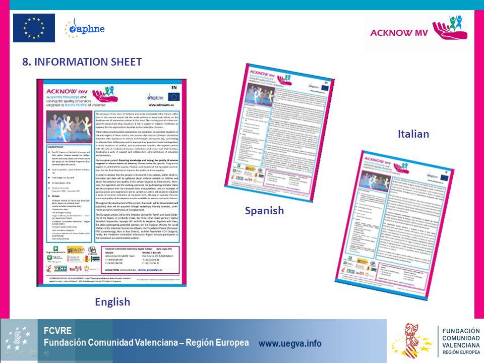 8. INFORMATION SHEET English Spanish Italian