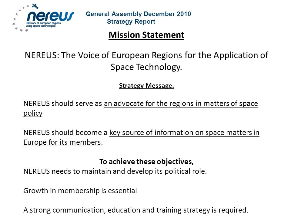 General Assembly December 2010 Strategy Report Advocacy.
