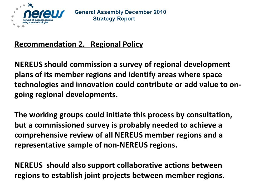 General Assembly December 2010 Strategy Report Recommendation 2.