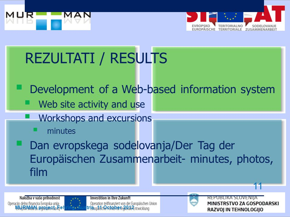 REZULTATI / RESULTS  Development of a Web-based information system  Web site activity and use  Workshops and excursions  minutes  Dan evropskega sodelovanja/Der Tag der Europäischen Zusammenarbeit- minutes, photos, film MURMAN project, Fehring, Austria, 11 October