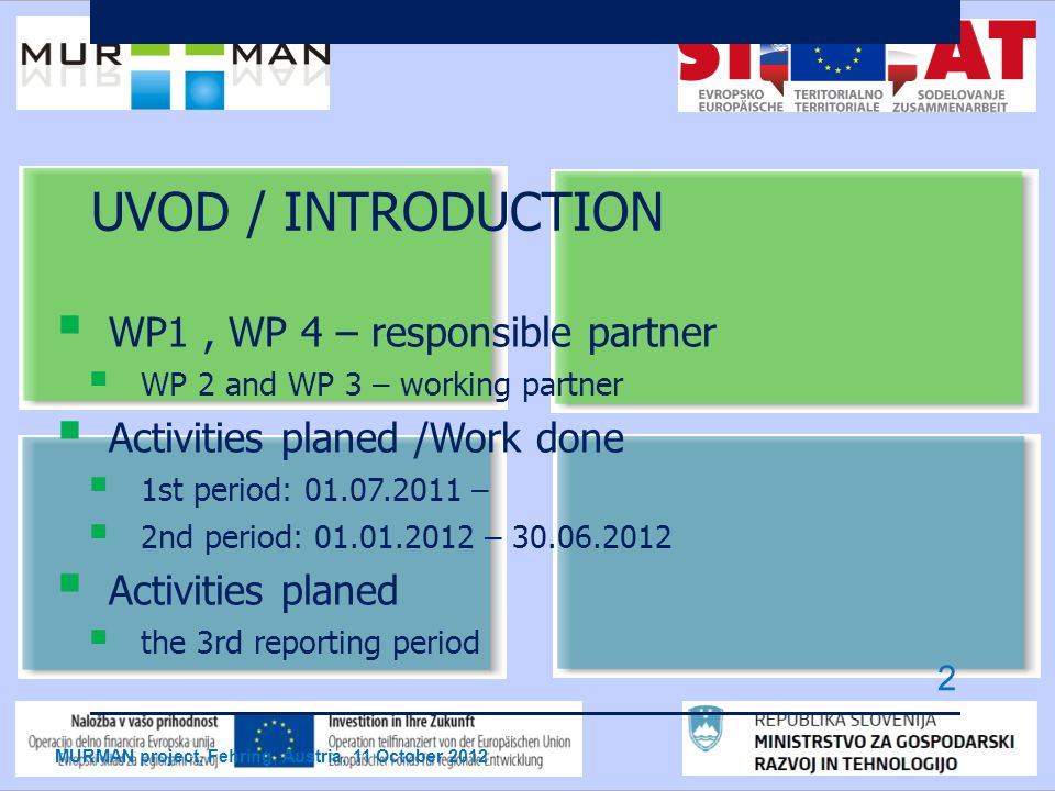 UVOD / INTRODUCTION  WP1, WP 4 – responsible partner  WP 2 and WP 3 – working partner  Activities planed /Work done  1st period: –  2nd period: –  Activities planed  the 3rd reporting period MURMAN project, Fehring, Austria, 11 October