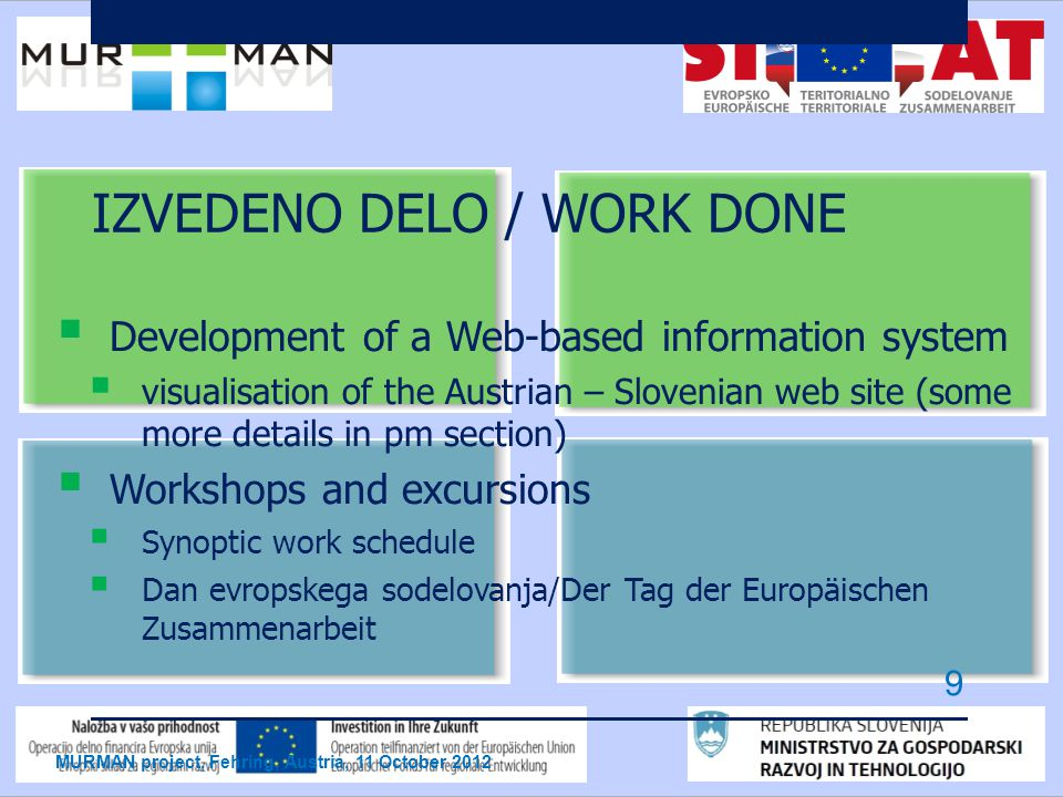IZVEDENO DELO / WORK DONE  Development of a Web-based information system  visualisation of the Austrian – Slovenian web site (some more details in pm section)  Workshops and excursions  Synoptic work schedule  Dan evropskega sodelovanja/Der Tag der Europäischen Zusammenarbeit MURMAN project, Fehring, Austria, 11 October