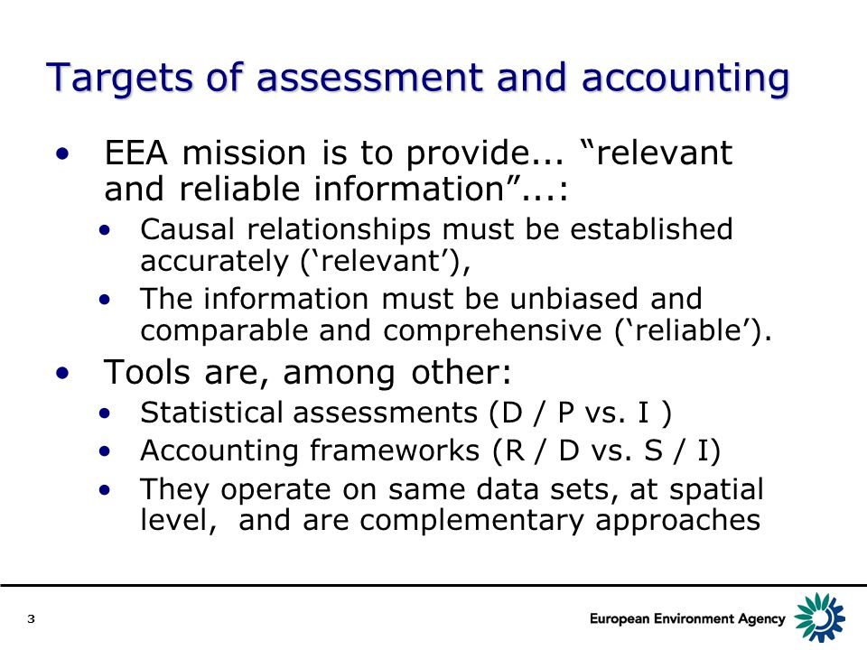 3 Targets of assessment and accounting EEA mission is to provide...