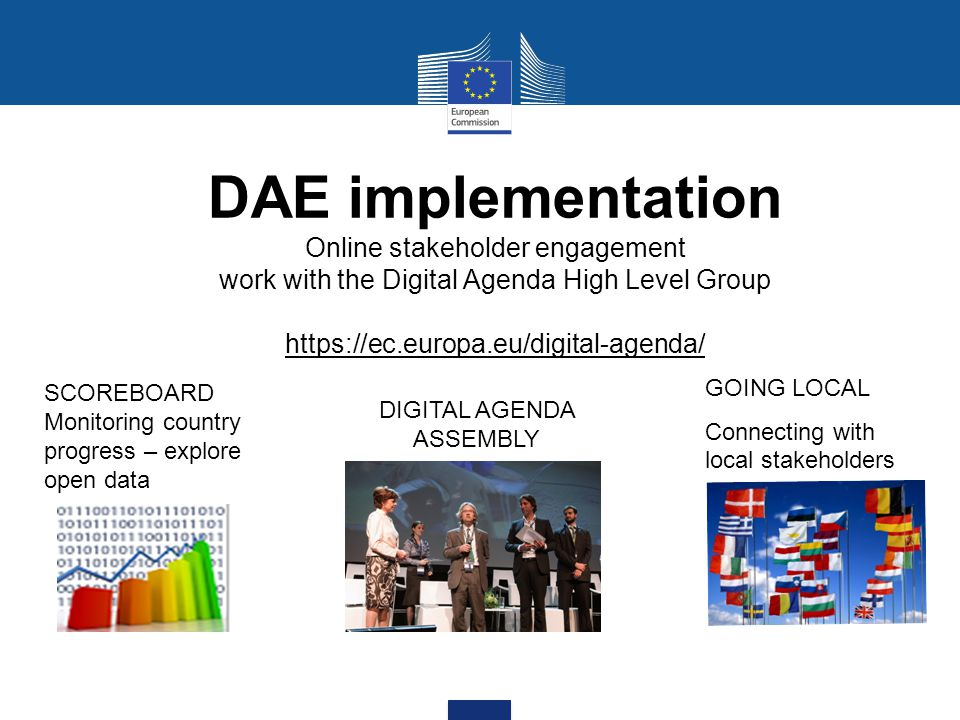 DAE implementation Online stakeholder engagement work with the Digital Agenda High Level Group https://ec.europa.eu/digital-agenda/ GOING LOCAL Connecting with local stakeholders SCOREBOARD Monitoring country progress – explore open data DIGITAL AGENDA ASSEMBLY