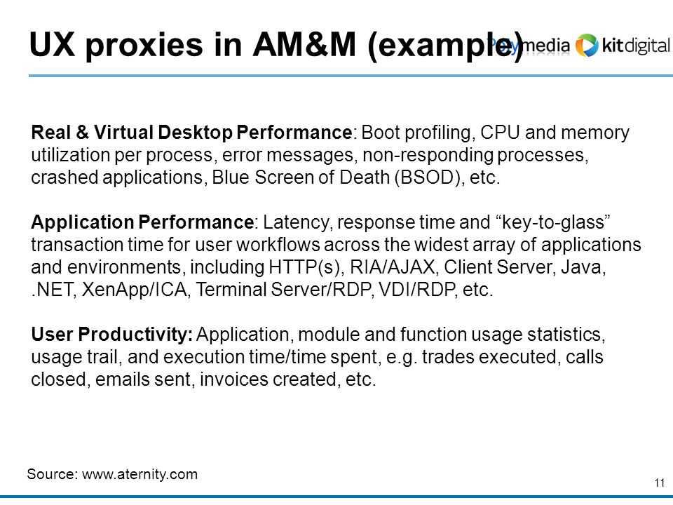 11 UX proxies in AM&M (example) Source: www.aternity.com Real & Virtual Desktop Performance: Boot profiling, CPU and memory utilization per process, error messages, non-responding processes, crashed applications, Blue Screen of Death (BSOD), etc.