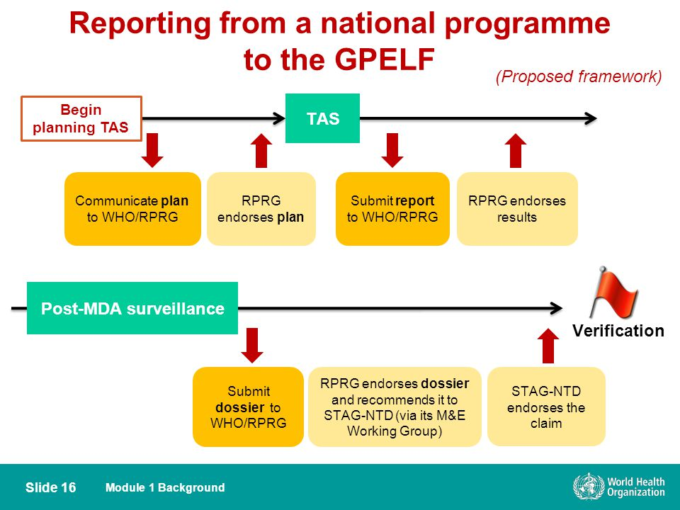 Module 1 Background Reporting from a national programme to the GPELF Slide 16 Communicate plan to WHO/RPRG RPRG endorses plan TAS Submit report to WHO