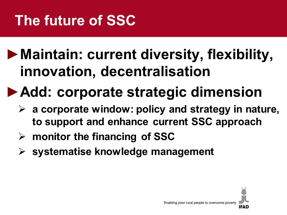 The future of SSC ►Maintain: current diversity, flexibility, innovation, decentralisation ►Add: corporate strategic dimension  a corporate window: policy and strategy in nature, to support and enhance current SSC approach  monitor the financing of SSC  systematise knowledge management