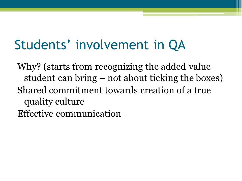 Students' involvement in QA How.