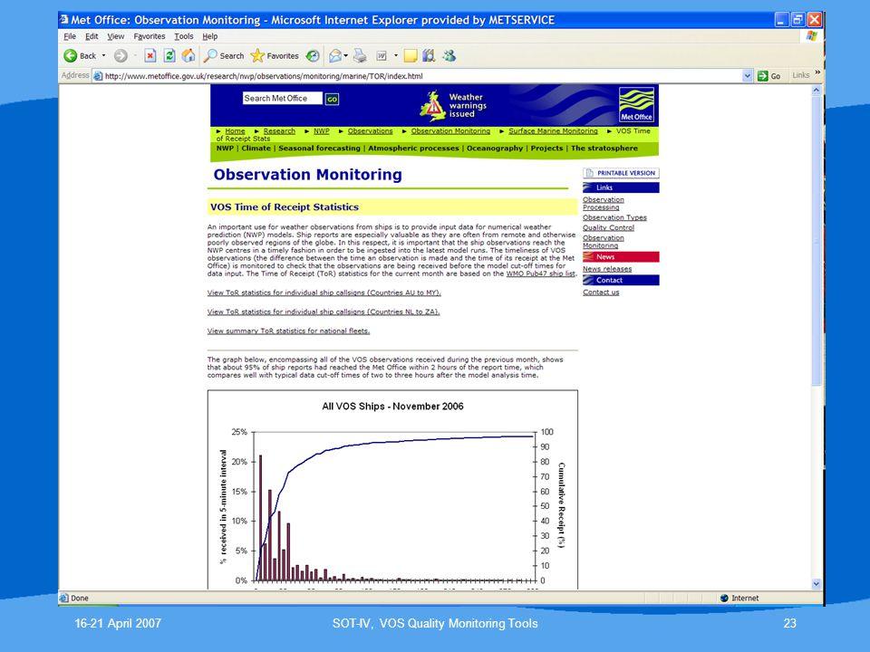 16-21 April 2007SOT-IV, VOS Quality Monitoring Tools23