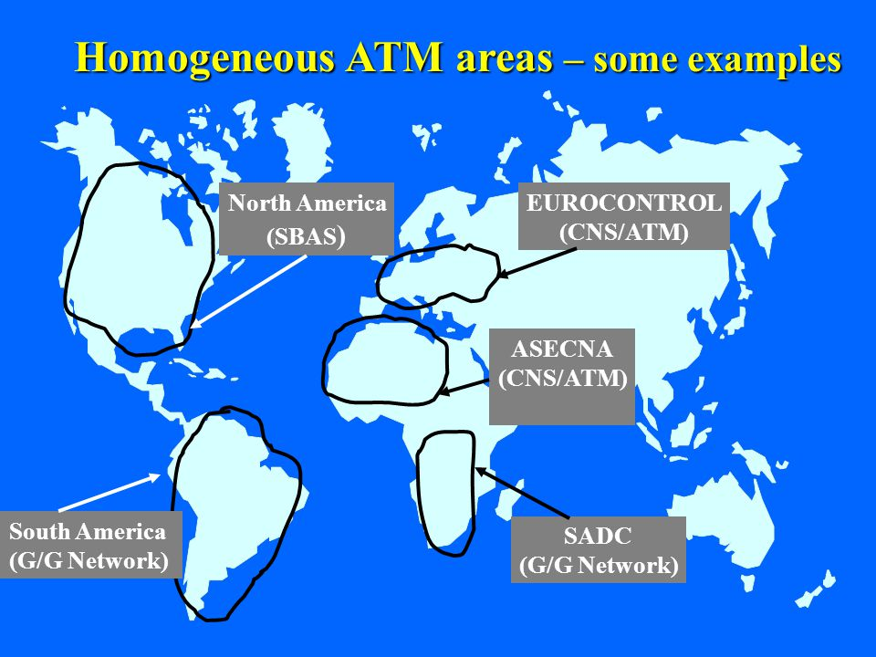 15 EUROCONTROL (CNS/ATM) North America (SBAS ) South America (G/G Network) SADC (G/G Network) ASECNA (CNS/ATM) Homogeneous ATM areas – some examples