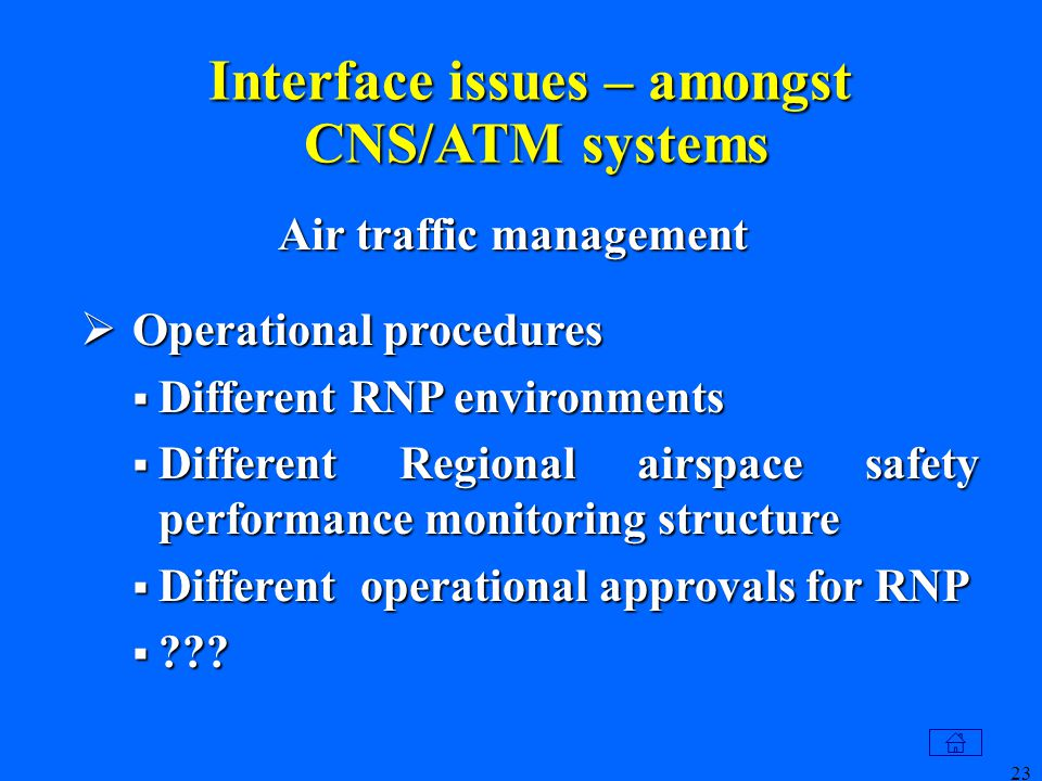 23 Interface issues – amongst CNS/ATM systems  Operational procedures  Different RNP environments  Different Regional airspace safety performance monitoring structure  Different operational approvals for RNP  ??.
