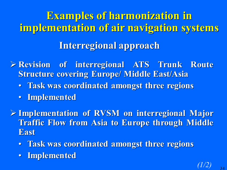 34 Examples of harmonization in implementation of air navigation systems  Revision of interregional ATS Trunk Route Structure covering Europe/ Middle East/Asia Task was coordinated amongst three regions Task was coordinated amongst three regions Implemented Implemented  Implementation of RVSM on interregional Major Traffic Flow from Asia to Europe through Middle East Task was coordinated amongst three regions Task was coordinated amongst three regions Implemented Implemented Interregional approach (1/2)