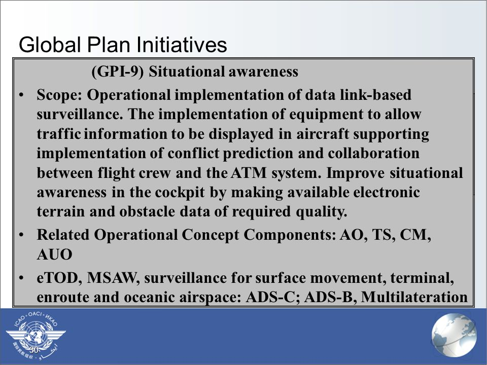 30 Global Plan Initiatives  (GPI-1) Flexible use of airspace  Scope: The optimization and equitable balance in the use of airspace between civil and military users, facilitated through both strategic coordination and dynamic interaction.