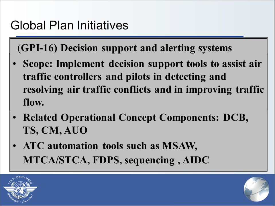 37 Global Plan Initiatives  (GPI-1) Flexible use of airspace  Scope: The optimization and equitable balance in the use of airspace between civil and military users, facilitated through both strategic coordination and dynamic interaction.