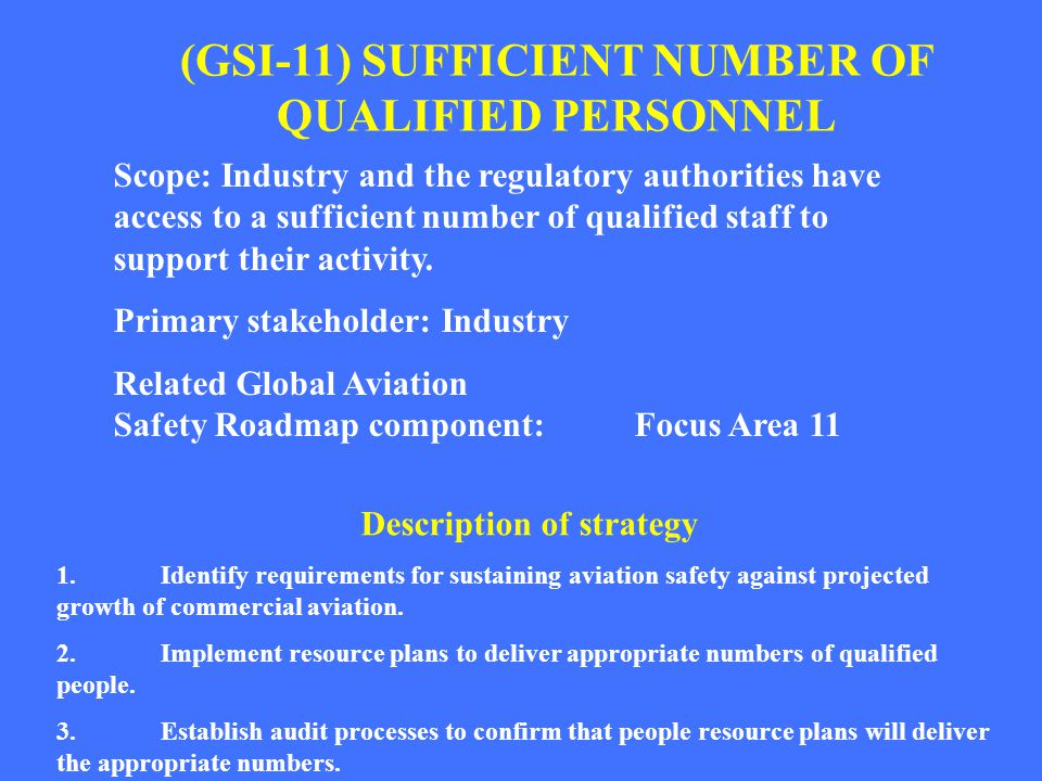 (GSI-11) SUFFICIENT NUMBER OF QUALIFIED PERSONNEL Scope: Industry and the regulatory authorities have access to a sufficient number of qualified staff