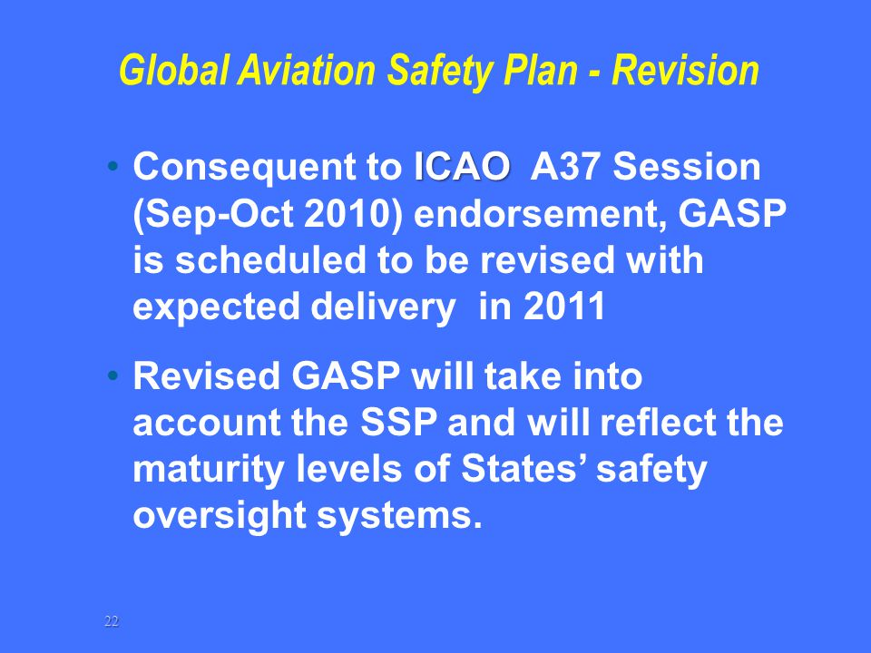 Global Aviation Safety Plan - Revision ICAOConsequent to ICAO A37 Session (Sep-Oct 2010) endorsement, GASP is scheduled to be revised with expected de