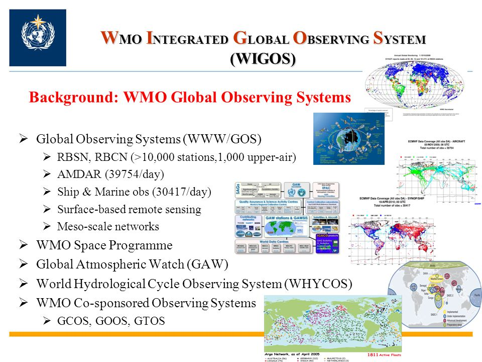 W MO I NTEGRATED G LOBAL O BSERVING S YSTEM (WIGOS) Background: WMO Global Observing Systems  Global Observing Systems (WWW/GOS)  RBSN, RBCN (>10,00