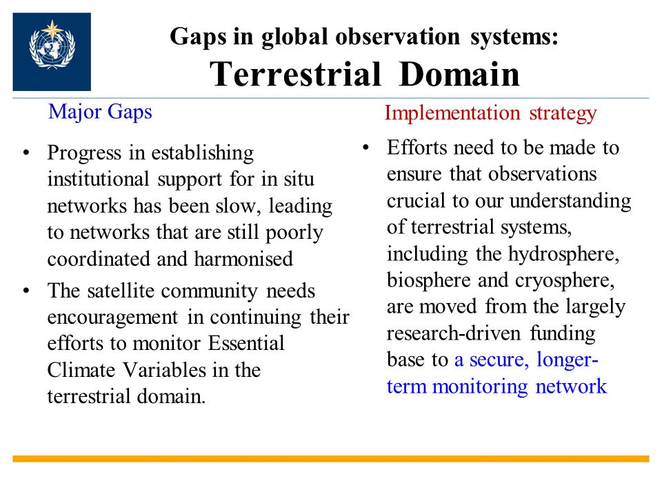 Gaps in global observation systems: Terrestrial Domain Progress in establishing institutional support for in situ networks has been slow, leading to n