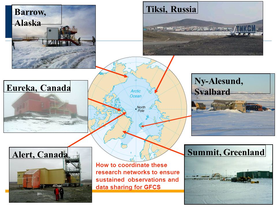 Tiksi, Russia Alert, CanadaBarrow, Alaska Eureka, Canada Summit, Greenland Ny-Alesund, Svalbard How to coordinate these research networks to ensure su