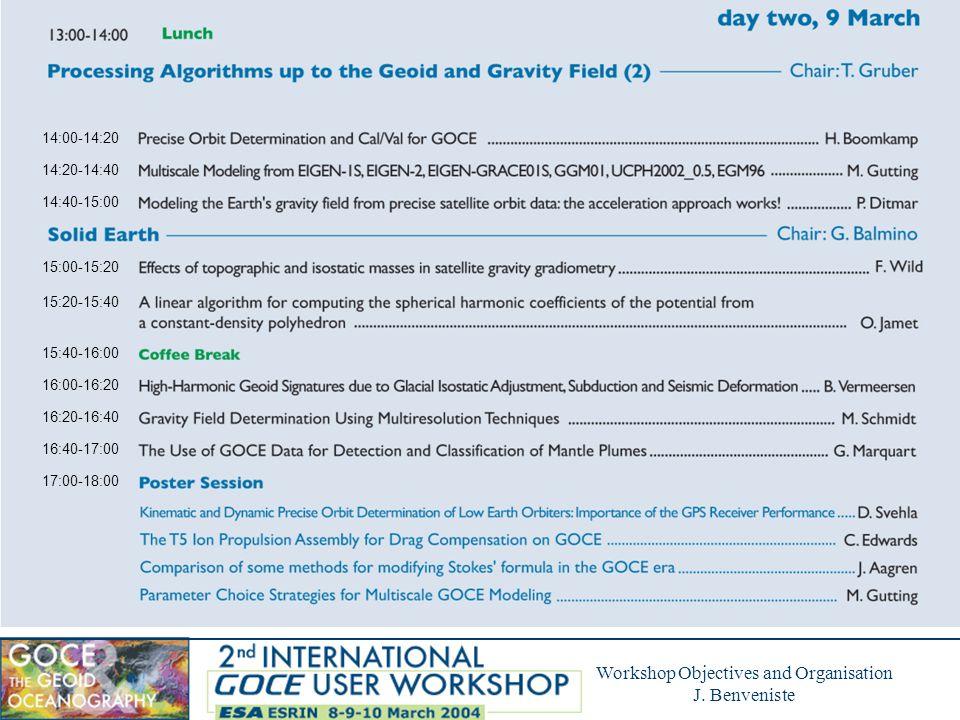 Workshop Objectives and Organisation J. Benveniste 17:00-18:00 (Continued)
