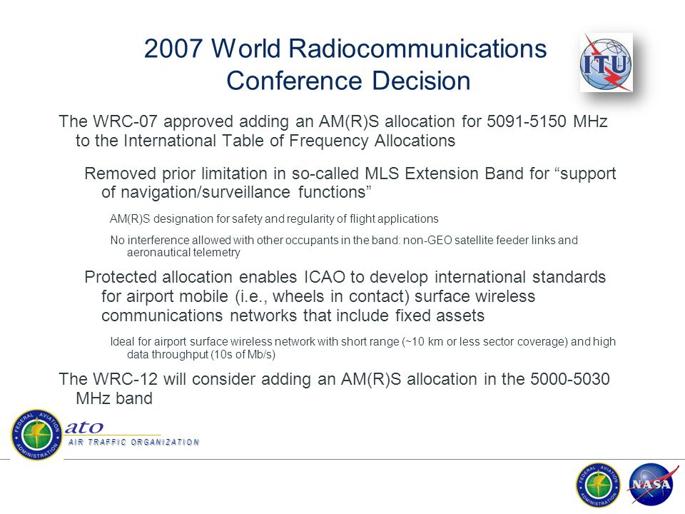 RTCA SC-223 RTCA Program Management Council approved SC-223 in July 2009 for Airport Surface Wireless Communications standard development –Aeronautical Mobile Airport Communications System (AeroMACS) profile is based on IEEE 802.16-2009 standard –Working in close collaboration with EUROCAE WG-82 to develop joint profile and MOPS documents.
