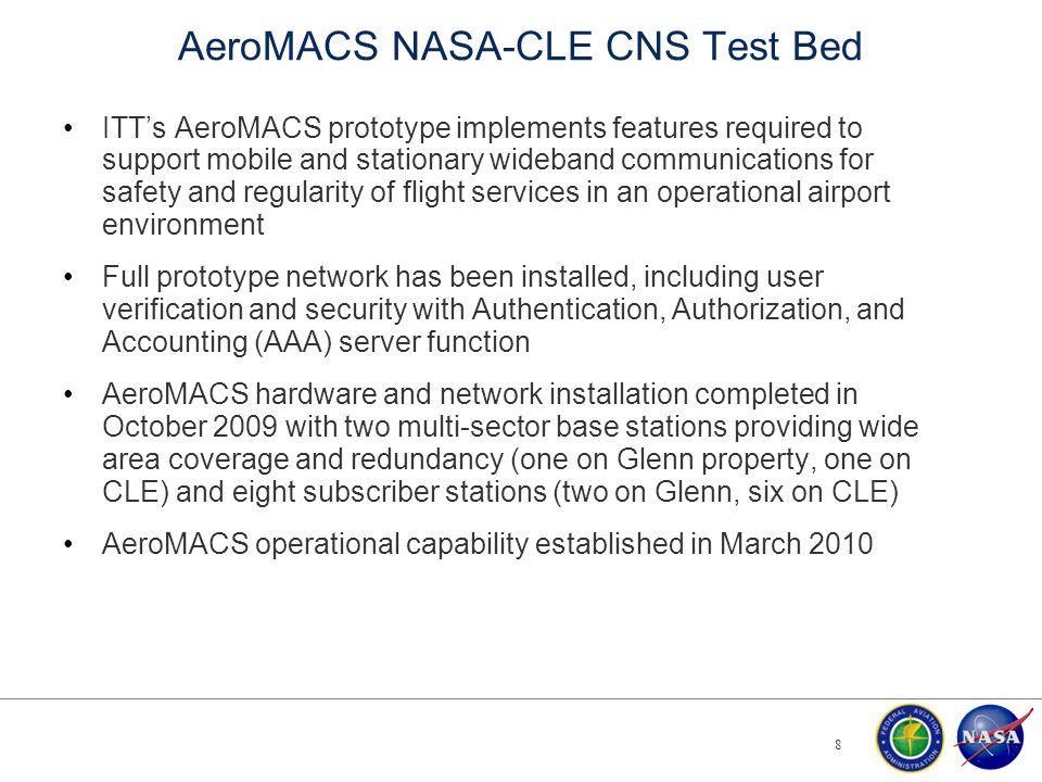NASA-Cleveland Test Bed AeroMACS Network Layout 9 AZ = 55° ° AZ = 200° AZ = 295° AZ = 45° AZ = 185° Cleveland-Hopkins International Airport NASA Glenn Research Center Subscriber Stations Base Stations Core Server