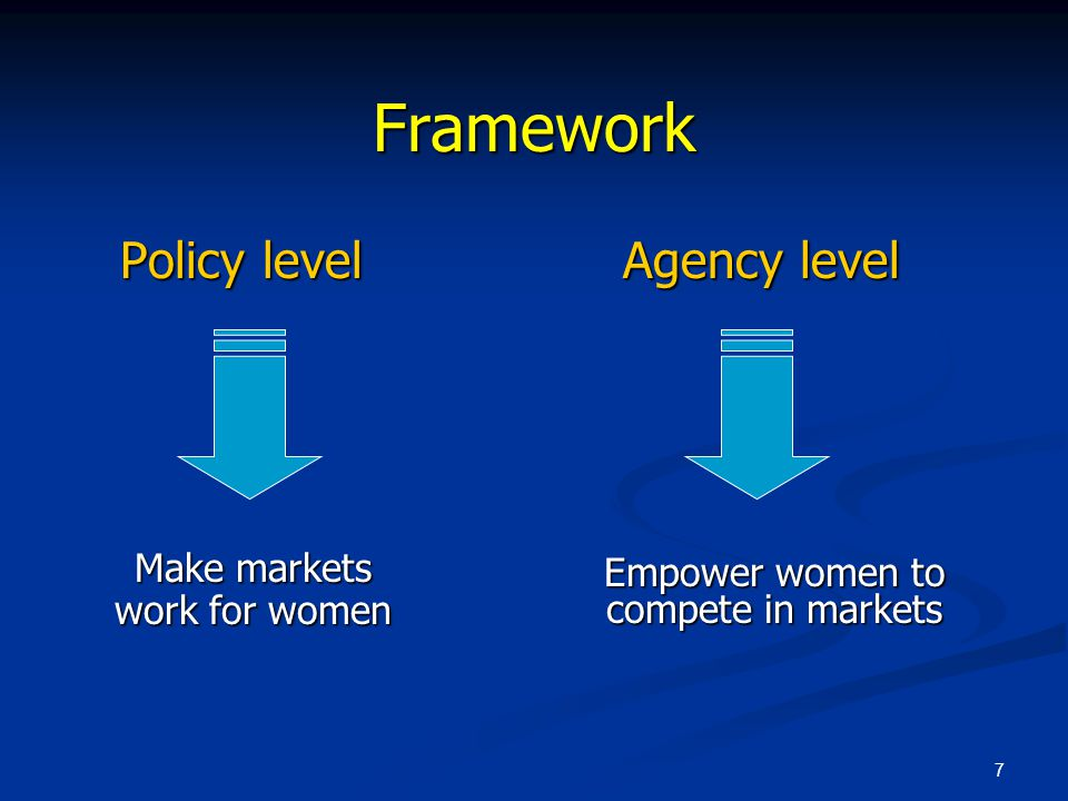 7 Framework Policy level Agency level Policy level Agency level Empower women to compete in markets Make markets work for women