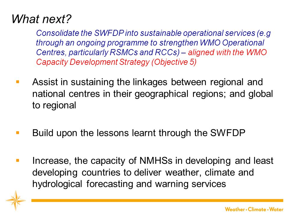 What next?  Assist in sustaining the linkages between regional and national centres in their geographical regions; and global to regional  Build upo