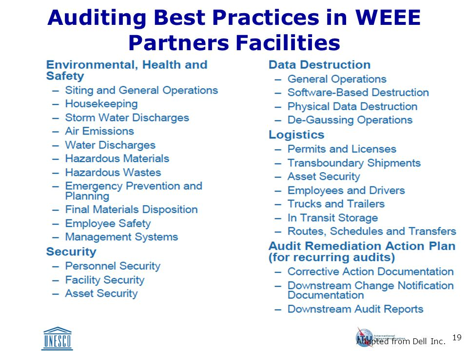 19 Auditing Best Practices in WEEE Partners Facilities Adapted from Dell Inc.