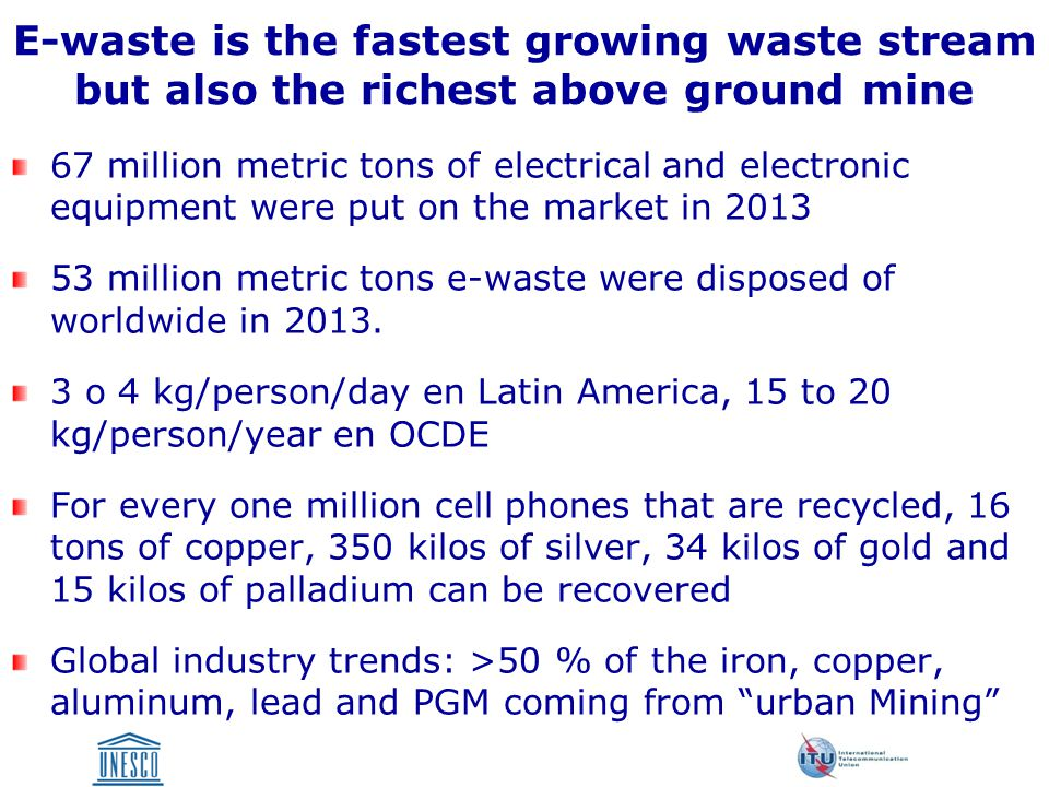 E-waste is the fastest growing waste stream but also the richest above ground mine 67 million metric tons of electrical and electronic equipment were put on the market in million metric tons e-waste were disposed of worldwide in 2013.