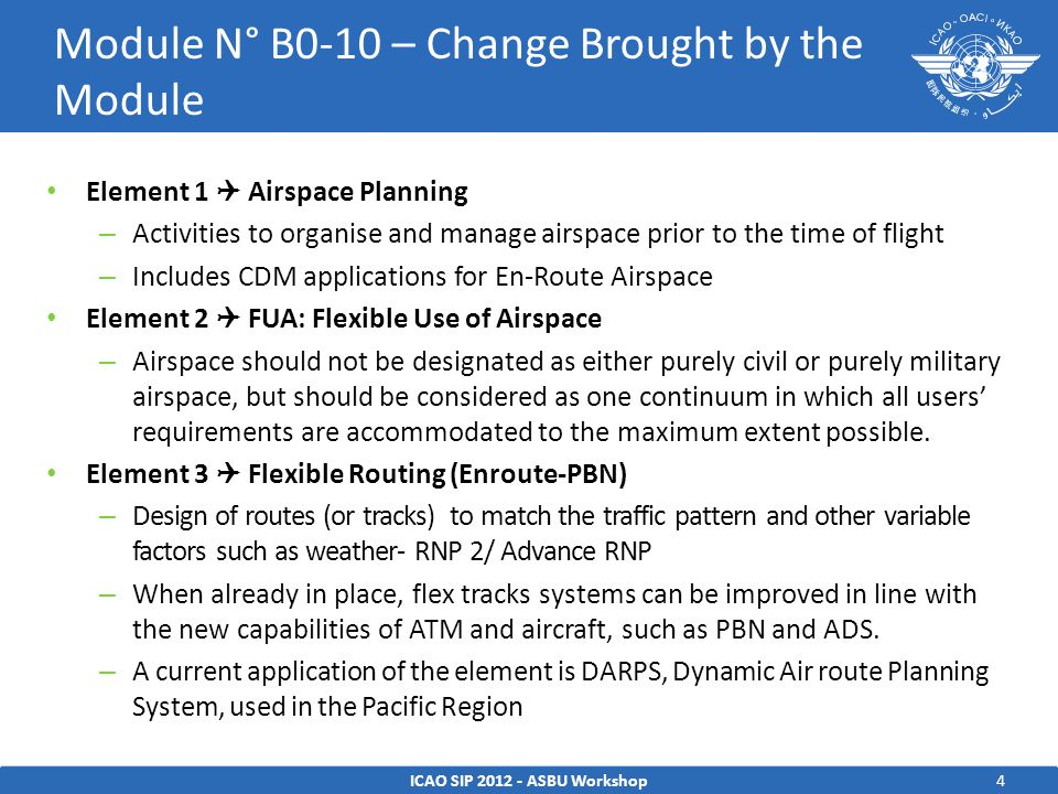 4 Element 1  Airspace Planning – Activities to organise and manage airspace prior to the time of flight – Includes CDM applications for En-Route Airspace Element 2  FUA: Flexible Use of Airspace – Airspace should not be designated as either purely civil or purely military airspace, but should be considered as one continuum in which all users' requirements are accommodated to the maximum extent possible.