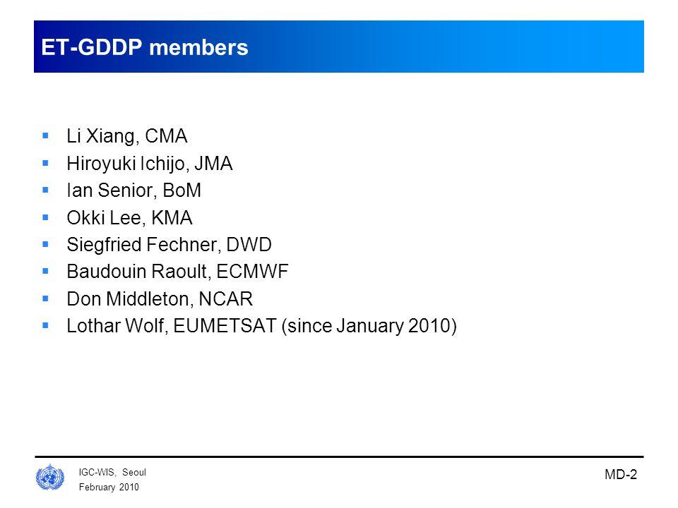 February 2010 IGC-WIS, Seoul MD-2 ET-GDDP members  Li Xiang, CMA  Hiroyuki Ichijo, JMA  Ian Senior, BoM  Okki Lee, KMA  Siegfried Fechner, DWD 