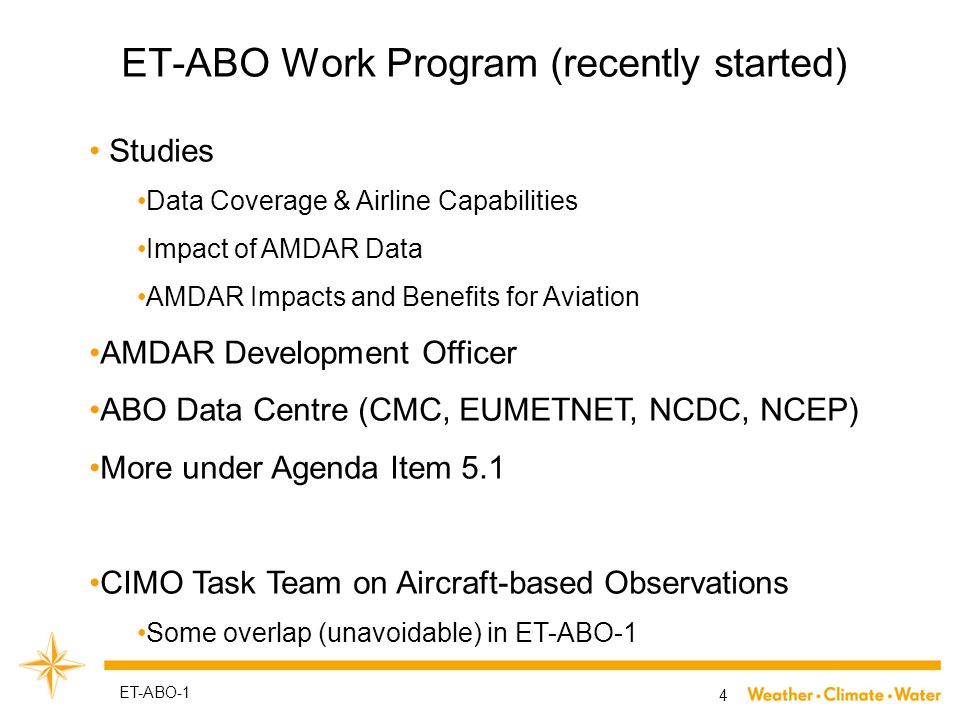 ET-ABO Leadership & Management 5 ET-ABO-1 Regular WebEx meetings ET-ABO & TT-AO Contacts with ABO Focal Points and potential AMDAR participants Writing documents/letters/emails Organization of ET-ABO-1
