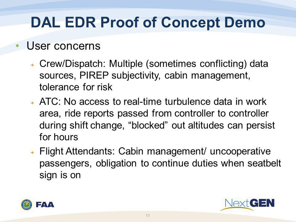 11 DAL EDR Proof of Concept Demo User concerns  Crew/Dispatch: Multiple (sometimes conflicting) data sources, PIREP subjectivity, cabin management, tolerance for risk  ATC: No access to real-time turbulence data in work area, ride reports passed from controller to controller during shift change, blocked out altitudes can persist for hours  Flight Attendants: Cabin management/ uncooperative passengers, obligation to continue duties when seatbelt sign is on