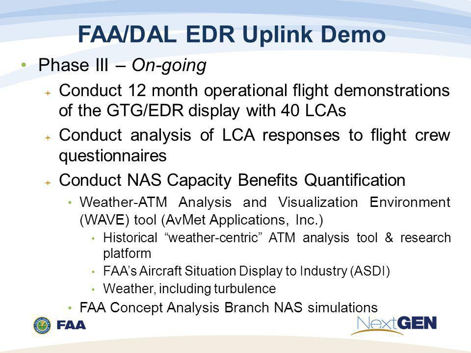 FAA/DAL EDR Uplink Demo Phase III – On-going  Conduct 12 month operational flight demonstrations of the GTG/EDR display with 40 LCAs  Conduct analysis of LCA responses to flight crew questionnaires  Conduct NAS Capacity Benefits Quantification Weather-ATM Analysis and Visualization Environment (WAVE) tool (AvMet Applications, Inc.) Historical weather-centric ATM analysis tool & research platform FAA's Aircraft Situation Display to Industry (ASDI) Weather, including turbulence FAA Concept Analysis Branch NAS simulations