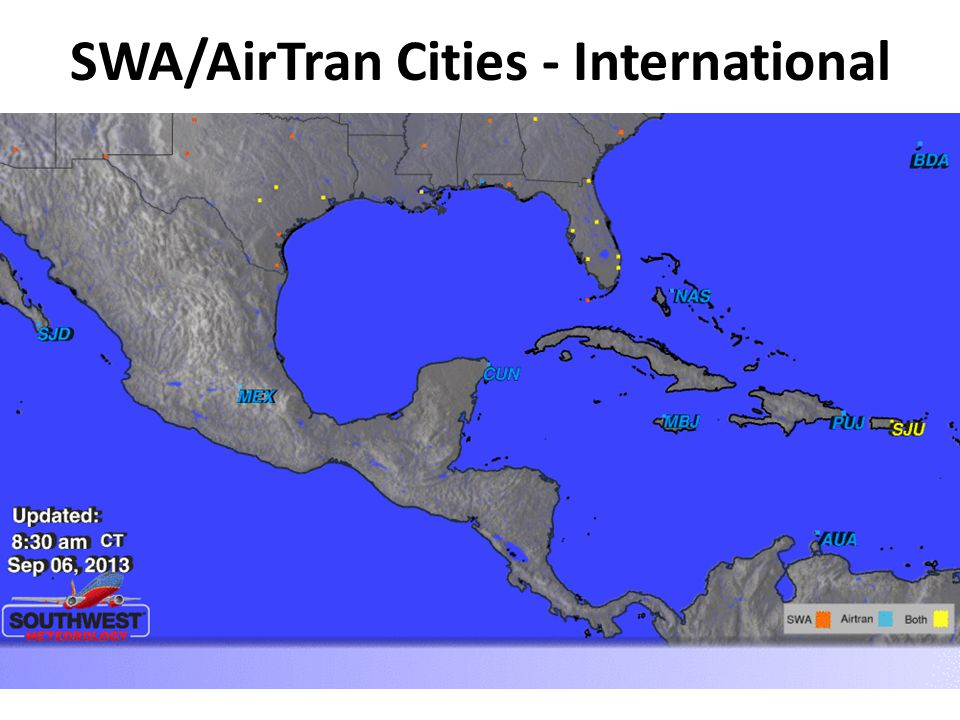 SWA/AirTran Cities - International