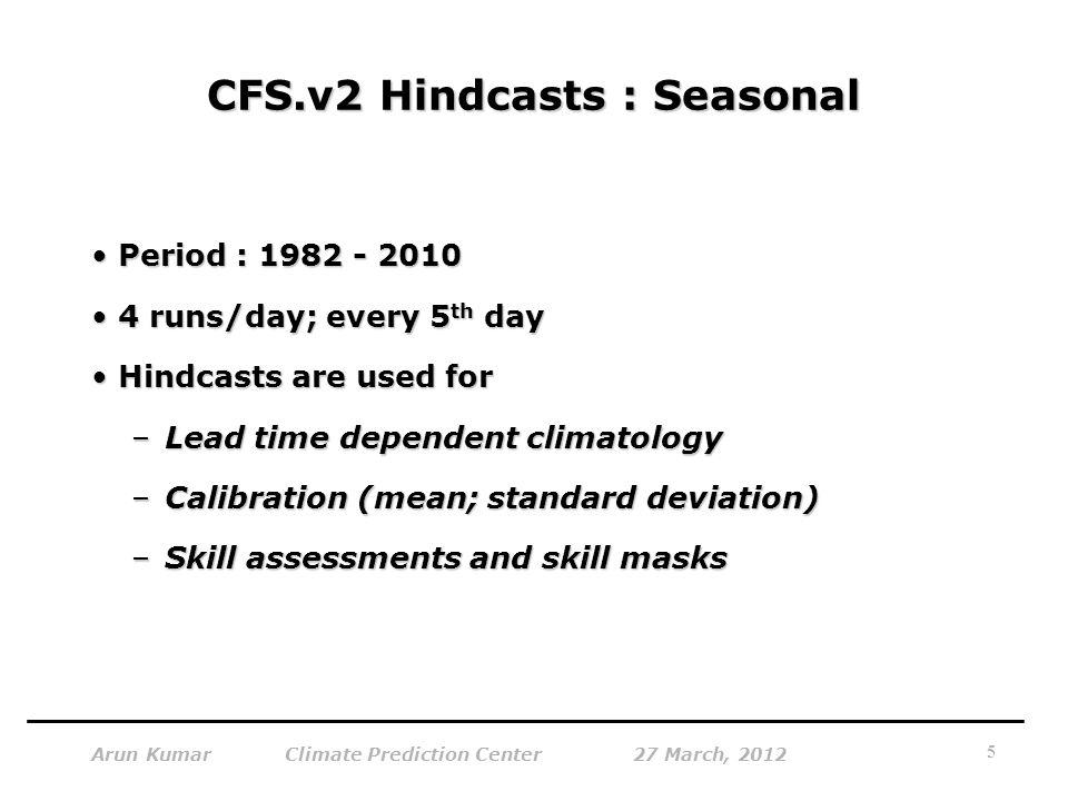 CFS.v2 Hindcasts : Seasonal Period : 1982 - 2010Period : 1982 - 2010 4 runs/day; every 5 th day4 runs/day; every 5 th day Hindcasts are used forHindcasts are used for –Lead time dependent climatology –Calibration (mean; standard deviation) –Skill assessments and skill masks 5 Arun Kumar Climate Prediction Center 27 March, 2012