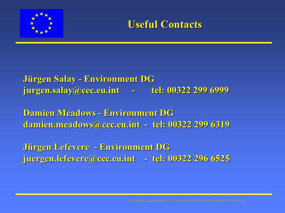 European Commission: Environment Directorate General Slide: 14 Useful Contacts Jürgen Salay - Environment DG jurgen.salay@cec.eu.int - tel: 00322 299 6999 Damien Meadows - Environment DG damien.meadows@cec.eu.int - tel: 00322 299 6319 Jürgen Lefevere - Environment DG juergen.lefevere@cec.eu.int - tel: 00322 296 6525