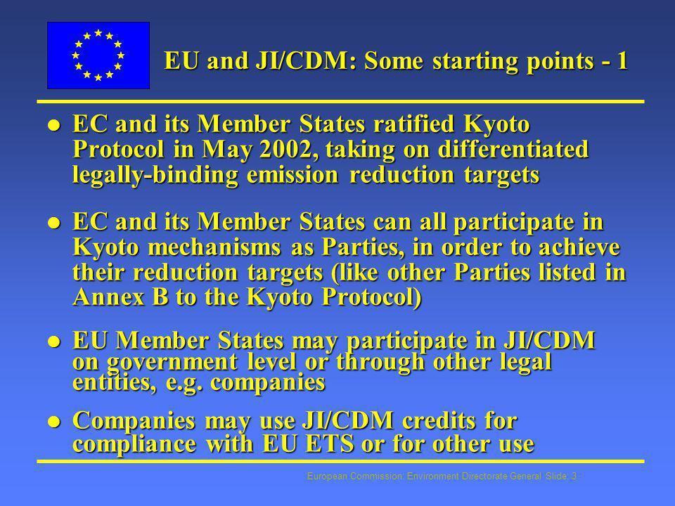 European Commission: Environment Directorate General Slide: 14 Useful Contacts Jürgen Salay - Environment DG jurgen.salay@cec.eu.int - tel: 00322 299 6999 Damien Meadows - Environment DG damien.meadows@cec.eu.int - tel: 00322 299 6319 Jürgen Lefevere - Environment DG juergen.lefevere@cec.eu.int - tel: 00322 296 6525