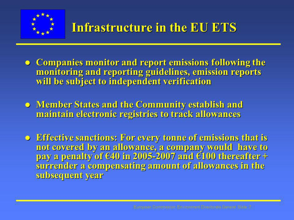 European Commission: Environment Directorate General Slide: 8 Allocation in the EU ETS l Allocation to installations for free, but Member states may auction up to 5% for 2005 –2007 and up to 10% for 2008-2012 l Member States observe common allocation criteria l Each Member State draws up an ex-ante national allocation plan, by 31 March 2004 for 2005-7 l Transparency and comments by the public, scrutiny by the Commission