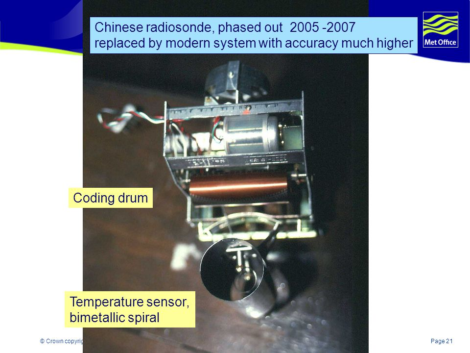 Page 21© Crown copyright 2004 Coding drum Temperature sensor, bimetallic spiral Chinese radiosonde, phased out 2005 -2007 replaced by modern system with accuracy much higher