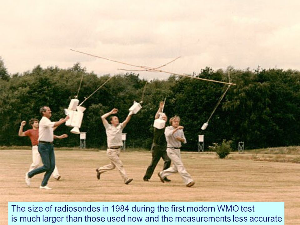 Page 23© Crown copyright 2004 The size of radiosondes in 1984 during the first modern WMO test is much larger than those used now and the measurements less accurate
