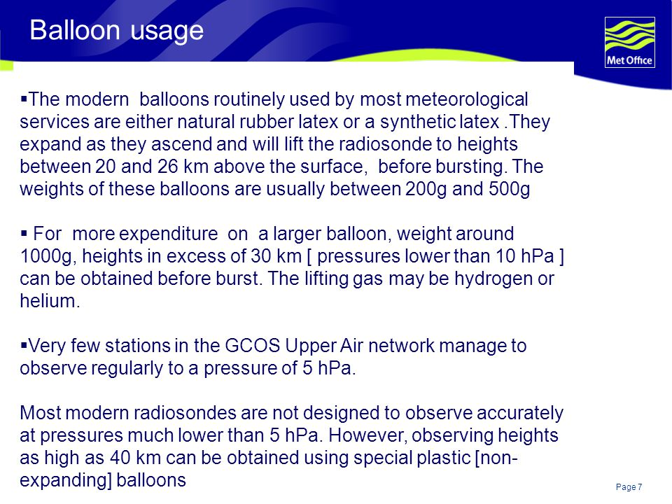 Page 8© Crown copyright 2004 350g balloon +Vaisala RS80 GPS