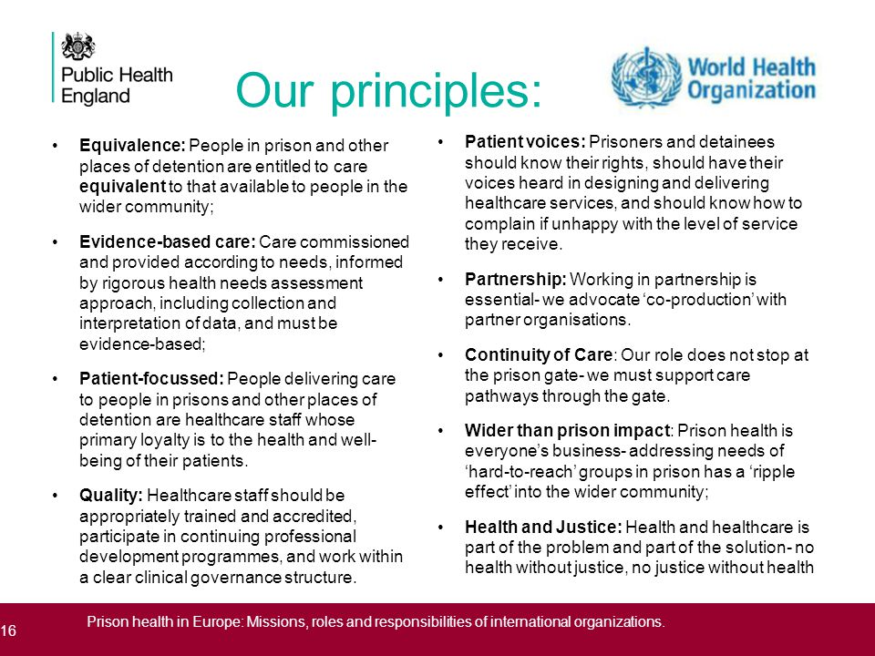 Our principles: Patient voices: Prisoners and detainees should know their rights, should have their voices heard in designing and delivering healthcare services, and should know how to complain if unhappy with the level of service they receive.