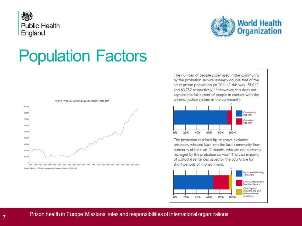 Population Factors 7 Prison health in Europe: Missions, roles and responsibilities of international organizations.
