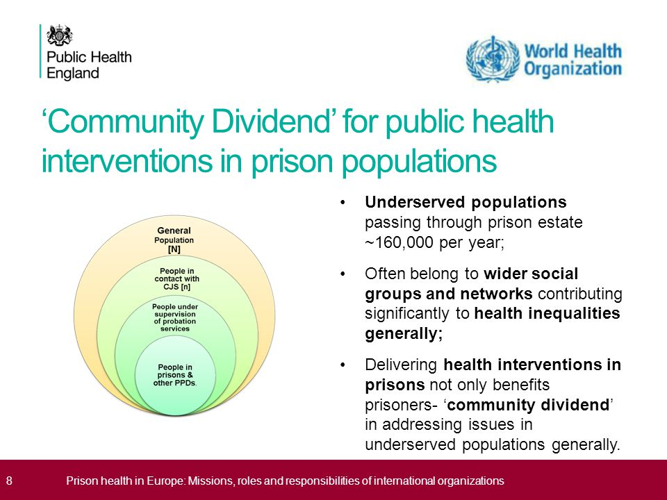 PHE Vision for Health & Justice internationally Recognise prison is a 'setting' where populations with high level of health needs are collected for variable periods of time; Interventions can be delivered in this setting to address immediate health needs and longer term conditions; But prison is only a 'setting' on a complex 'care pathway' through both health and justice systems; Effectiveness of prison-based interventions will be minimised if care pathways do not extend beyond the prison walls; Need to think about both 'upstream' and 'downstream' interventions in both health and criminal justice systems to realise health dividend for under-served populations and reduce offending/re-offending behaviours; Need international collaboration and cooperation to gather data and 'upscale' interventions to detect impacts, positive and negative.
