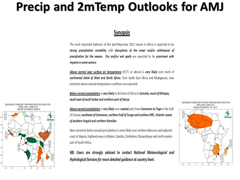Precip and 2mTemp Outlooks for AMJ 2012 for Africa